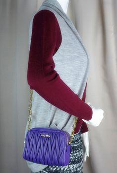 70818e7d6eb Miumiu matelasse crossbody bag ,Viola Purple ,Brandnew, more info pls pm or  contact. ViolaMiuccia PradaMiu MiuHigh FashionCrossbody BagClothes ...