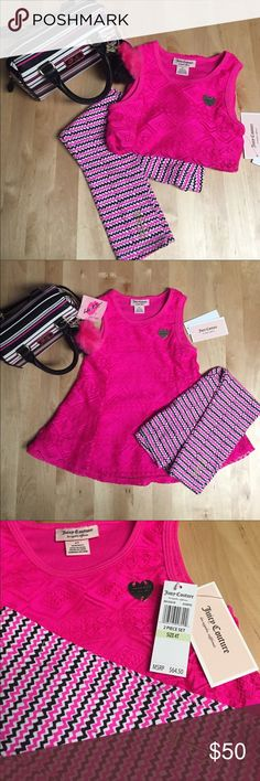 Juicy Couture Pink Tank Top and Matching Leggings NWT Juicy Couture fuchsia pink top, Lace and lined , 100% polyester with matching leggings. (Betsey Johnson bag shown in picture is unavailable) My daughter will be 4 in August, if this doesn't sell by then, I may keep for her! It's sooooo pretty!! Juicy Couture Matching Sets