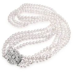 Bling Jewelry Vintage Vixen Pearls ($55) ❤ liked on Polyvore featuring jewelry, necklaces, jewelry sets, necklaces pendants, pearl-strands, vintage pearl necklace, pearl pendant necklace, multi strand pearl necklace, pearl necklace ve pendants & necklaces