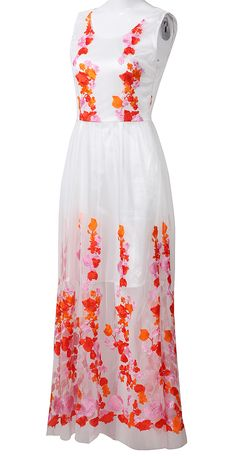 #sheinside White Sleeveless Embroidered Lace Flowers Maxi Dress - Sheinside.com