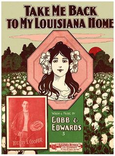 Vintage Song Poster - Take Me Back To Old Louisiana