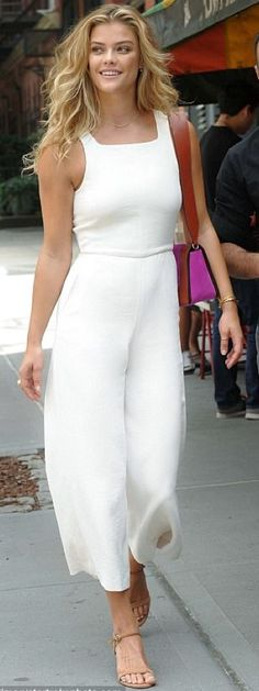Nina Agdal in the Écoulement Jumpsuit by Wilfred.