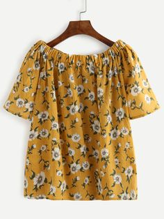 Yellow Flower Print Off The Shoulder Blouse — 0.00 € ------------color: Yellow size: one-size