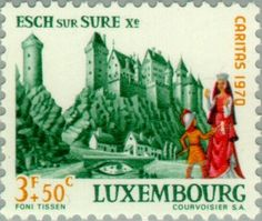 Sello: Castle Esch sur Sure (Luxemburgo) (Castles) Mi:LU 817,Yt:LU 767