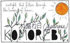 komorebi - Esta es la palabra que los japoneses usan cuando los rayos de sol se filtran a través de los árboles; la interacción entre la luz y las hojas.