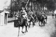 9th Lancers on their way to Mons 100 years ago