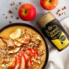 Try a seasonal apple smoothie bowl, topped with muesli, banana slices and a drizzle of our Coconut Nectar, to give your apples a distinctive, sweet caramel flavour. Coconut nectar is made from coconut sap that's been heated to form a sweet, caramel syrup. Coconut Nectar Recipes, Apple Smoothies, Banana Slice, Muesli, Smoothie Bowl, Natural, Syrup, Apples