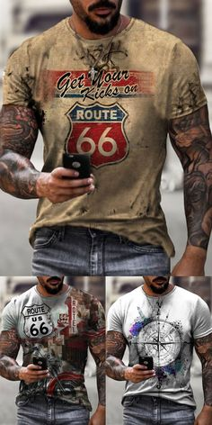 T shirts are a staple in any man's wardrobe, and we have a big range of t-shirts to keep you stocked up & in style! Shop the range now. #tshirt #shirts #men Casual T Shirts, Cool Shirts, Men Casual, Men Shirts, Route 66, Voll Arm-tattoos, Summer Outfits Men, Summer Clothes, Casual Outfits