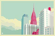 Park Avenue New York City Landscape - A gallery-quality illustration art print by Remko Gap Heemskerk for sale. Landscape Sketch, Landscape Drawings, City Landscape, Urban Landscape, Landscape Design, Building Illustration, Landscape Illustration, City Illustration, Central Park