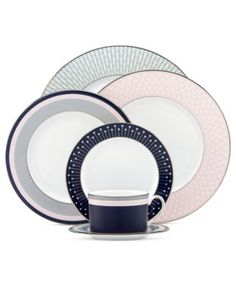 kate spade new york Dinnerware, Mercer Drive Platinum Collection - Fine China - Dining & Entertaining - Macys Bridal and Wedding Registry Kate Spade, Dining Services, Kitchen Trends, Kitchen Ideas, China Patterns, Place Settings, Table Settings, Geometric Designs, Fine Dining