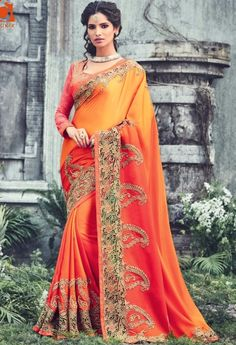 Orange Satin Designer Saree 211