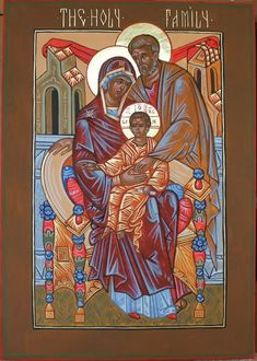 Russian Style Holy Family Icon by Peter Murphy Religious Images, Religious Icons, Religious Art, Russian Icons, Russian Style, Mary And Jesus, Byzantine Icons, Madonna And Child, Holy Family