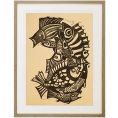 Woodcut on Paper by W. PUBELKA, 1965 Solid Oak, Modern Art, Rooster, Paper, Artist, Artwork, Animals, Work Of Art, Animales