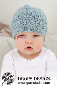 Odeta Hat / DROPS Baby - Knitted hat for babies with lace pattern and ridges. The piece is worked in DROPS BabyMerino. Odeta hat / DROPS Baby - free knitting patterns by DROPS design Monika Zywek monikazywe Baby Knitting Patterns, Baby Cardigan Knitting Pattern, Baby Hat Patterns, Baby Hats Knitting, Knitted Hats, Free Knitting, Crochet Patterns, Knitting Socks, Crochet Ideas