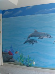 This room transformed a little girl's sleeping habits! She was afraid to sleep alone before this mural was created especially for her! The entire room was painted during a family vacation...she had a wonderful surprise when she came back!