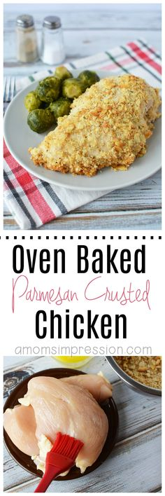 Looking to cut out a few calories? This healthier for you oven baked Parmesan crusted chicken is easy to make and a lot better than the fried version. #parmesanchicken via @kjhodson