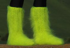 NEON YELLOW Hand knitted mohair unisex socks Fuzzy handcrafted soft leg warmers
