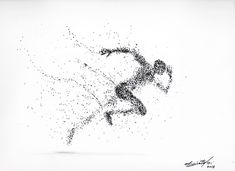 Running man ---- Black Ink drawing by Maurizio Puglisi Dotted Drawings, Pencil Art Drawings, Art Sketches, Running Drawing, Running Art, Runner Tattoo, Bts Design Graphique, Stippling Art, Princess Drawings