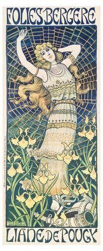 FOLIES BERGERES, LIANE DE POUGY, by Paul Berthon c.1898