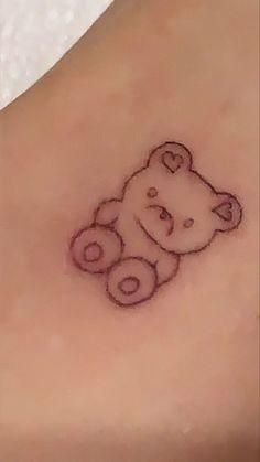 Cute Tiny Tattoos, Dainty Tattoos, Dream Tattoos, Pretty Tattoos, Mini Tattoos, Body Art Tattoos, Tatoos, Teddy Bear Tattoos, Stick Poke Tattoo