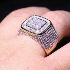 Yellow Gold Finish Carat Diamond Hip Hop Wedding Band Men's Pinky Ring 20 Carat Diamond Ring, Mens Diamond Pinky Rings, Mens Pinky Ring, Diamond Engagement Rings, Womens Wedding Bands, Wedding Ring Bands, Bracelets For Men, Hip Hop, Rings For Men