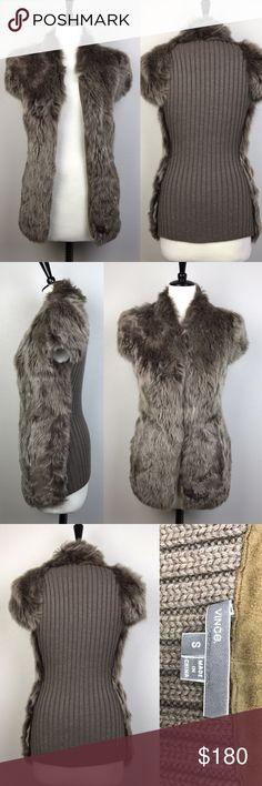 "Vince fur cap sleeves vest with sweater back Like new! Taupe Vince Cap Sleeve Fur Vest with Sweater back. Snap button closure, slit pockets on both sides. Size S. Length approximately 30.5"" Vince Jackets & Coats Vests"
