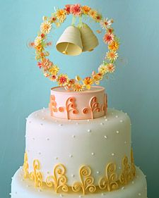 Don't like the flowery bell crap on top, but the gum paste curlicues and dotted icing is really cute!
