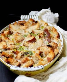 Leek Sourdough Bread Pudding