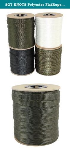 """SGT KNOTS Polyester FlatRope / Arbor Webbing / Utility Rope 5/8-Inch x 100, 300, 500 Feet Spools - Several Colors (5/8""""x500' - Olive). SGT KNOTS-proud to be a veteran-owned American company-has always been dedicated to bringing you the highest-quality ropes, tie-downs, cables, and accessories at the most affordable prices. That doesn't just mean finding the best materials to use in standard ropes. It also means working with our trusted suppliers to bring you new products that can help…"""