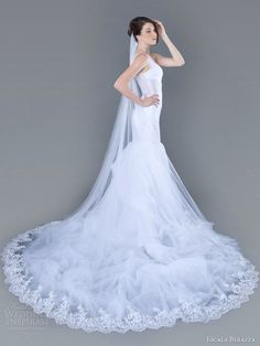 Sheath Wedding Dress : Meredith sleeveless mermaid gown with lace hemmed train.