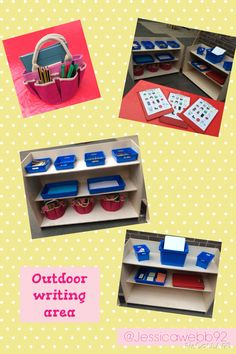 Outdoor mark making / writing area with self selection shelves. EYFS