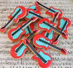 Electric guitar cookies by Miss Biscuit