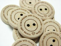 "3/4"" Wooden Buttons ""Made with love"".   Set of 10.   This etsy shop has a number of labels to nicely finish off craft items from laser cut buttons, like these, to hang tags and care labels.  #craft #hand-made #labels"