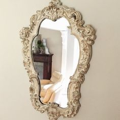 French Bathroom Mirror Oval Distressed