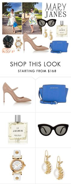 """Mary Jane meets Floral Romance"" by amaliadarin ❤ liked on Polyvore featuring Manolo Blahnik, Michael Kors, Miller Harris, Victoria Beckham, Versace and mizuki"