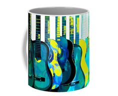 Blue Yellow Guitars MUG Contemporary Design by GrayWolfGallery