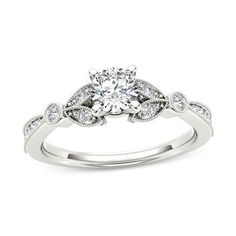 5/8 CT. T.W. Diamond Leaf Vintage-Style Engagement Ring in 14K White Gold - Save on Select Styles - Zales