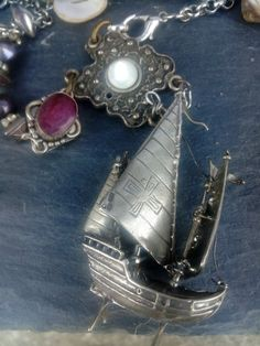 Elizabeth 1st necklace, elaborate neck piece, Galleon Ship necklace, Silver ship assemblage, Assemblage jewelry, Upcycled jewelry, Tudor Silver Lockets, Silver Necklaces, Jewelry Art, Vintage Jewelry, Metal Crown, Alternative Style, British Fashion, Antique Brooches, Fall Accessories