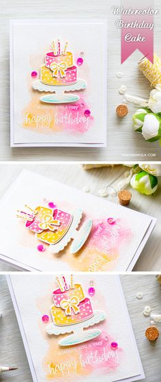 Watercolor Birthday Cake card with Hero Arts Color Layering Birthday Cake…