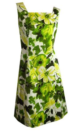 Tropical Floral Print A-Line Dress in Lime and Yellow circa 1960s - Dorothea's Closet Vintage