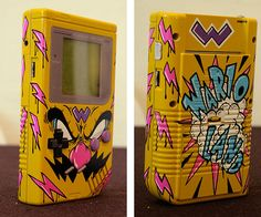 a little bit on the awesome side, Custom Wario Game Boy By the one and only OSKUNK,. Game Boy, Playstation, Xbox, Retro Video Games, Video Game Art, Jet Set Radio, Paint Games, Videogames, Nintendo Super Smash Bros