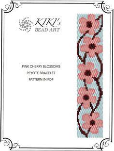 Pinkish cherry blossoms peyote bracelet cuff by KikisBeadArt