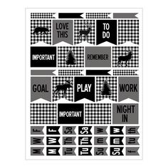 Planner Stickers with Black and White Lumberjack by HeadsUpGirls