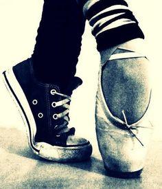 This photo explains my dance life sooo well, hip hop dancer to ballerina!