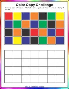 Color Copy Challenge - Visual Spatial and Visual Motor Activity