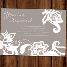 Bridal Shower Party Invitation  Pink Floral Lace by ScriptivaPaper, $15.00