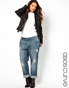 Image 1 of ASOS CURVE Saxby Boyfriend Jean With Distressed Rips