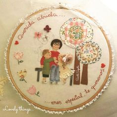 Bastidor Personalizado Embroidery Hoop Art, Pincushions, Appliques, Manual, Pillows, Sewing, Frame, Happy, Decor