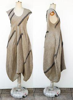 100% pure linen bauble dress by ZOJKA, S size, woman unique fashion design, in natural colour, stripes