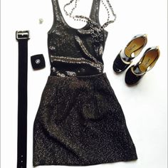 """Sparkly Black Skirt Black tweed skirt with metallic thread to add some sparkle. Approx 17"""" long; waist 15""""-15.5"""". Fully lined w/ zip. Excellent condition! Worn 1x; no flaws. (last pic has a filter to show pleats). No trades.                                                                    ***bundle & save*** GAP Skirts"""
